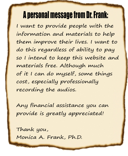 A personal message from Dr. Frank: